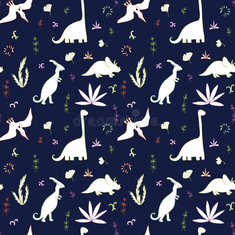 Картина абстрактного вектора безшовная с динозаврами бесплатная иллюстрация