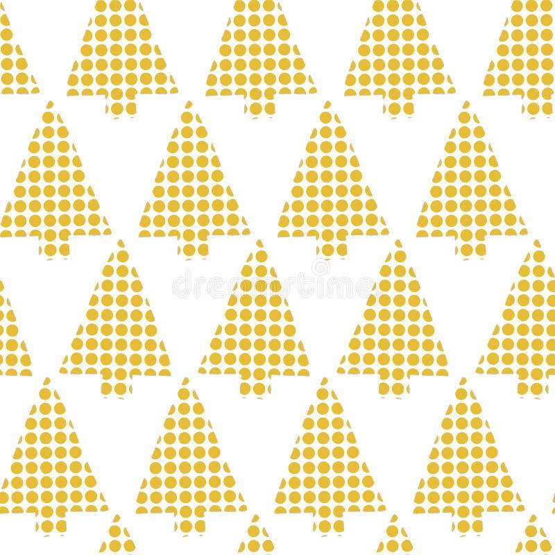 Картина абстрактного вектора рождественских елок безшовная Геометрическое золото силуэтов рождественской елки на белой предпосылк иллюстрация вектора