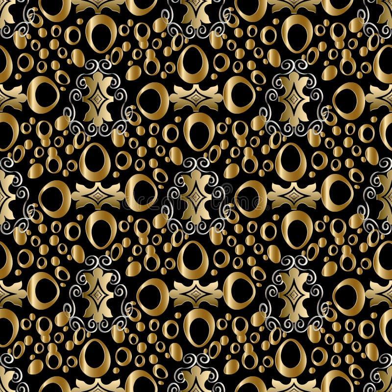 Картина абстрактного геометрического вектора безшовная Backgro года сбора винограда золота иллюстрация вектора