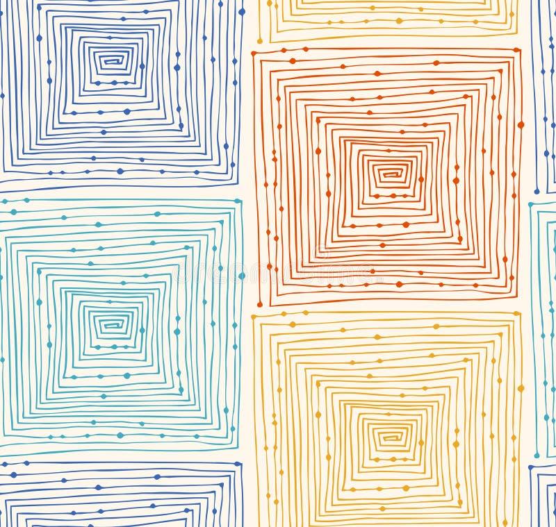 Картина абстрактного линейного grunge безшовная Бесконечная предпосылка с лабиринтами лабиринт Нарисованная рукой текстура вектор бесплатная иллюстрация