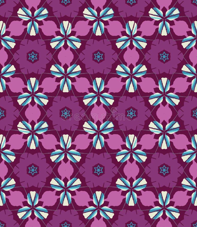 Картина абстрактного красочного калейдоскопа безшовная Геометрическая флористическая предпосылка вектора Образец графического диз иллюстрация вектора