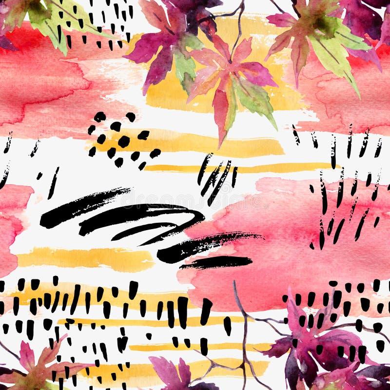 Картина абстрактного падения безшовная в ярких цветах осени иллюстрация вектора