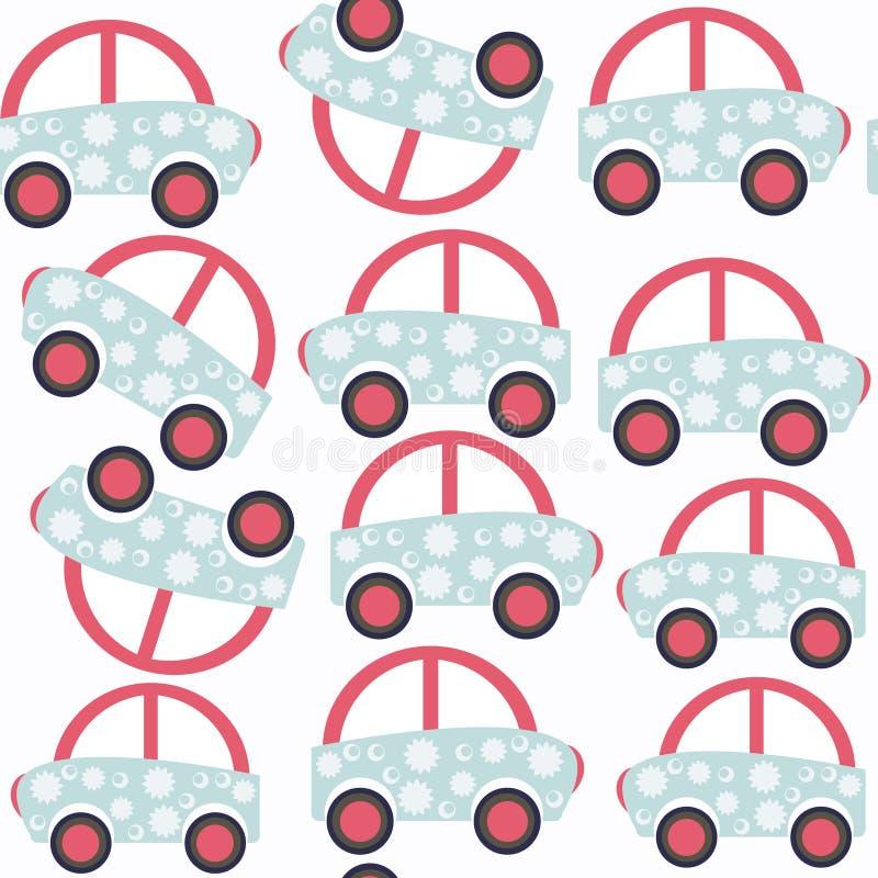 Картина абстрактного ребенка автомобиля безшовная Оно расположено в людях образца бесплатная иллюстрация