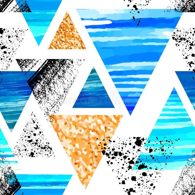Картина абстрактного треугольника акварели безшовная Треугольники с или бесплатная иллюстрация