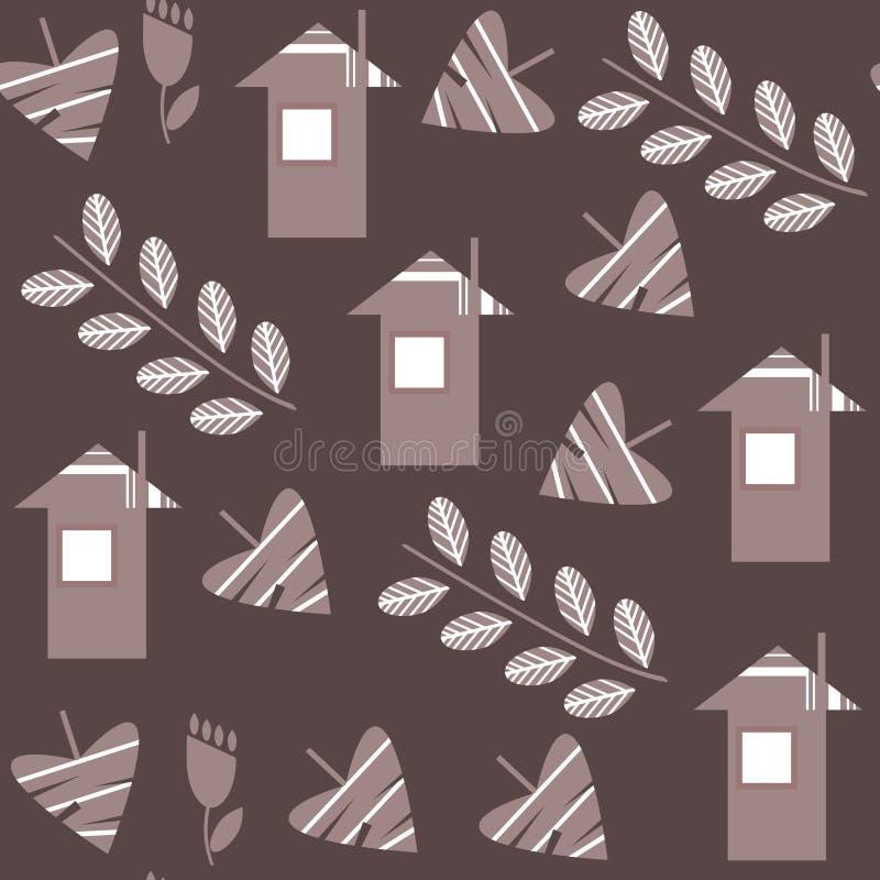 Картина абстрактного флористического вектора фантазии безшовная в мягком коричневом co бесплатная иллюстрация