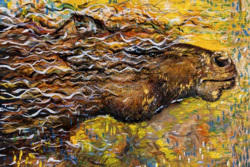 Картина абстрактной дикой лошади идущая иллюстрация штока