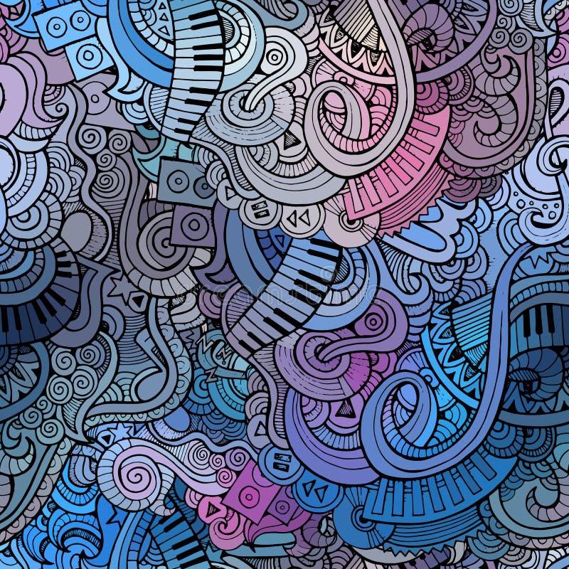 Картина абстрактной декоративной музыки doodles безшовная иллюстрация вектора