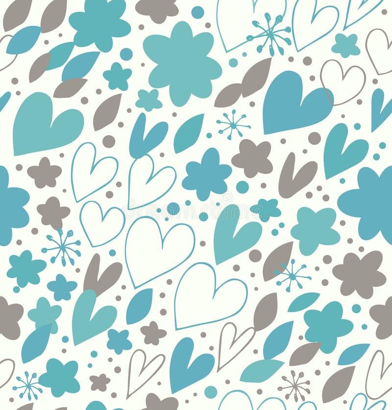 Картина абстрактной зимы безшовная с много милых деталей. Декоративная предпосылка doodle с сердцами и цветками иллюстрация штока