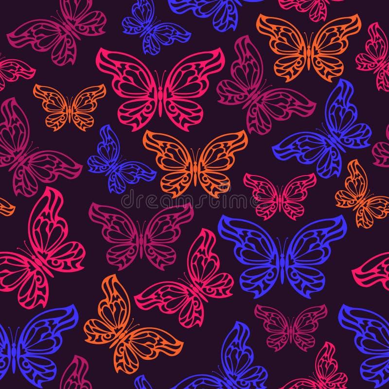 Картина абстрактной неоновой бабочки безшовная иллюстрация вектора