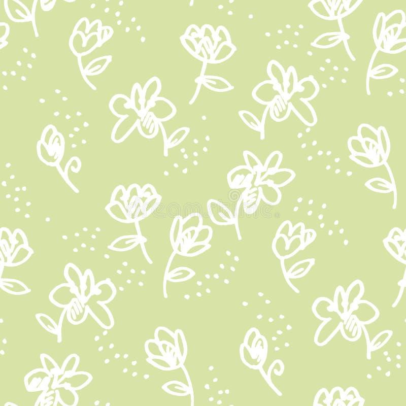 Картина абстрактной ручки войлок-подсказки цветков безшовная иллюстрация штока