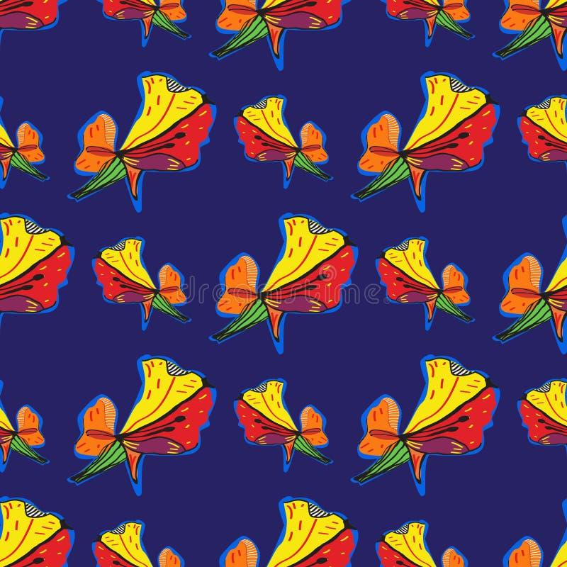 Картина абстрактной элегантности безшовная с флористической предпосылкой иллюстрация вектора