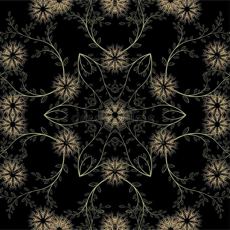 Картина абстрактных геометрических цветков безшовная вектор детального чертежа предпосылки флористический иллюстрация вектора