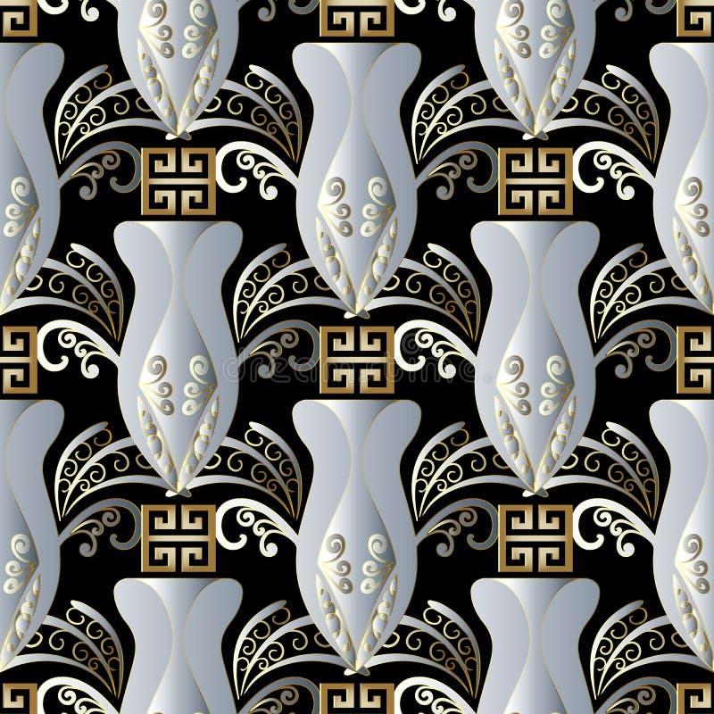 Картина абстрактных греческих ваз безшовная Backg вектора черное флористическое иллюстрация штока
