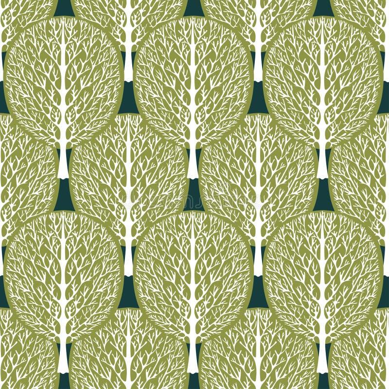 Картина абстрактных деревьев безшовная, стилизованный лес, иллюстрация вектора, винтажный чертеж Богато украшенные белые стволы д иллюстрация штока