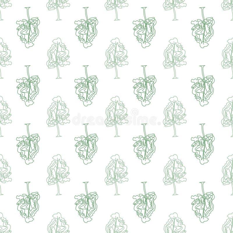 Картина абстрактных деревьев doodle безшовная иллюстрация штока