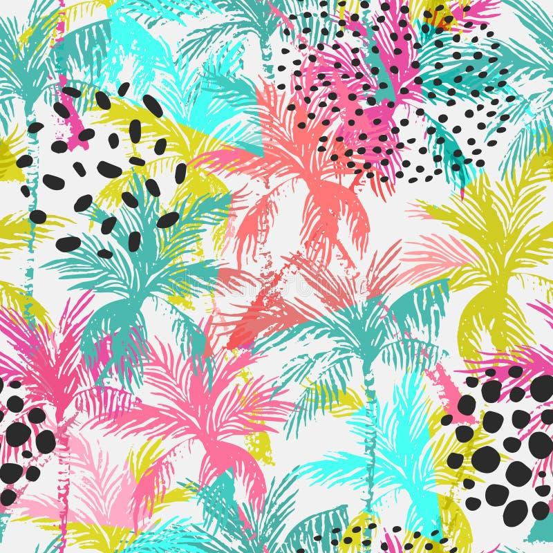 Картина абстрактных красочных пальм безшовная бесплатная иллюстрация