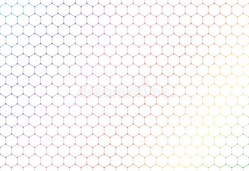 Картина абстрактных красочных шестиугольников безшовная на белых предпосылке и текстуре иллюстрация вектора