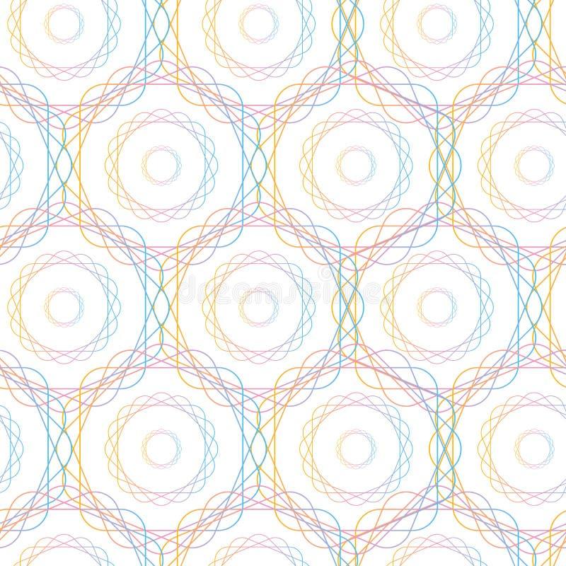 Картина абстрактных кругов шестиугольника геометрических безшовная, иллюстрация вектора