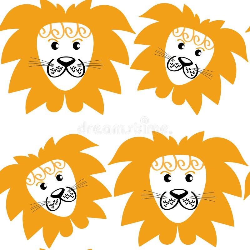 Картина абстрактных милых львов безшовная и безшовная картина в s иллюстрация вектора