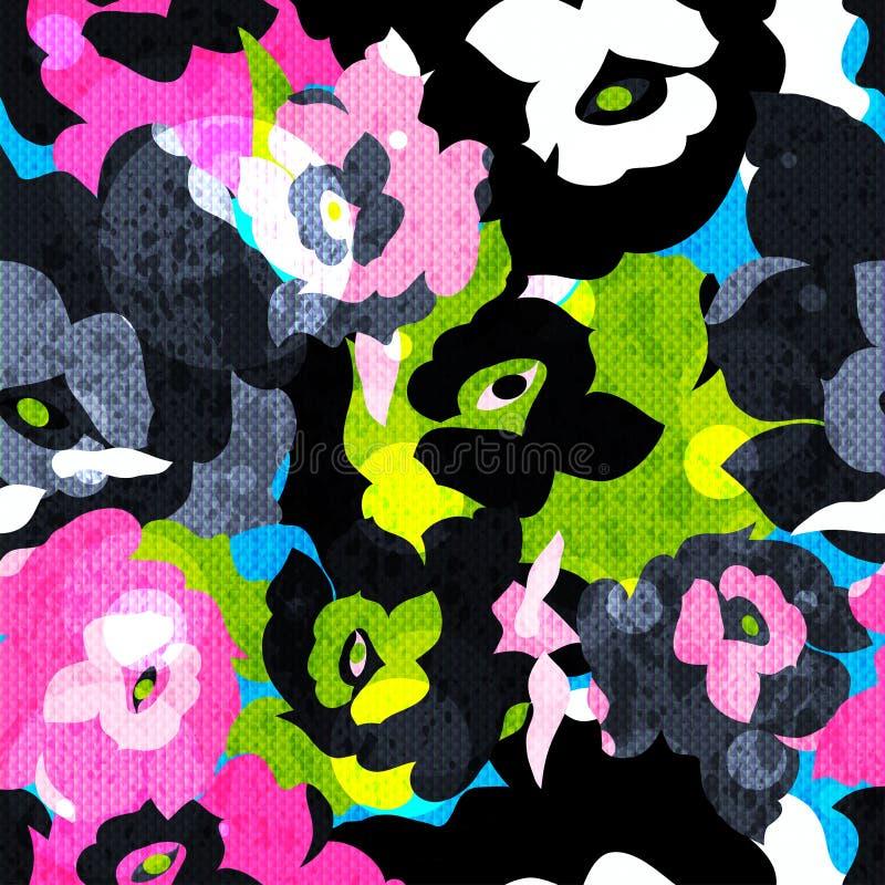 Картина абстрактных психоделических роз цвета предпосылки безшовная иллюстрация вектора