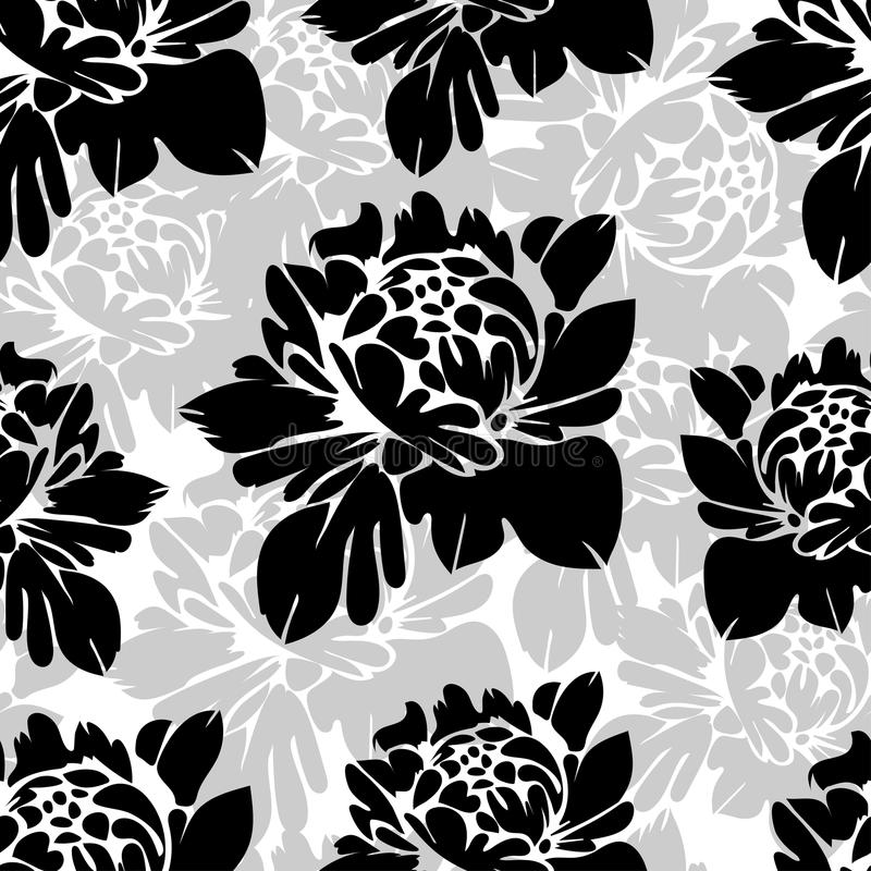 Картина абстрактных черно-белых цветков безшовная Винтажная monochrome флористическая предпосылка бутоны на a Для дизайна ткани,  иллюстрация штока