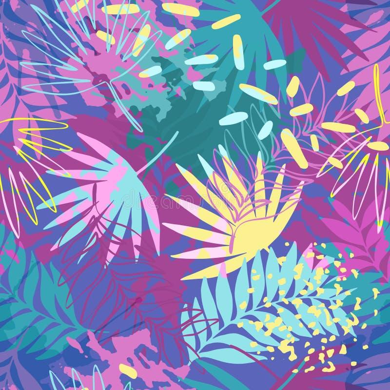 Картина абстрактных экзотических листьев безшовная иллюстрация вектора
