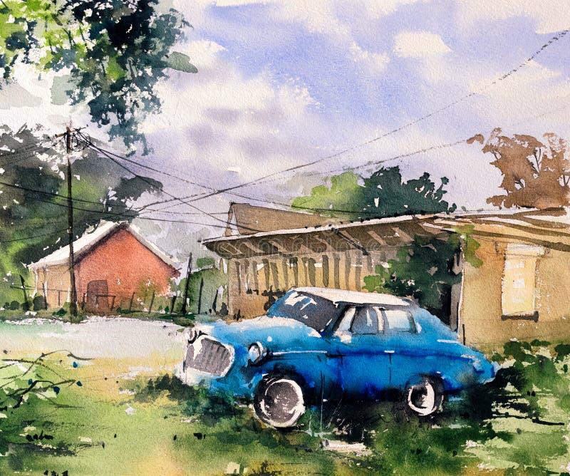 Картина акварели - автомобиль иллюстрация вектора