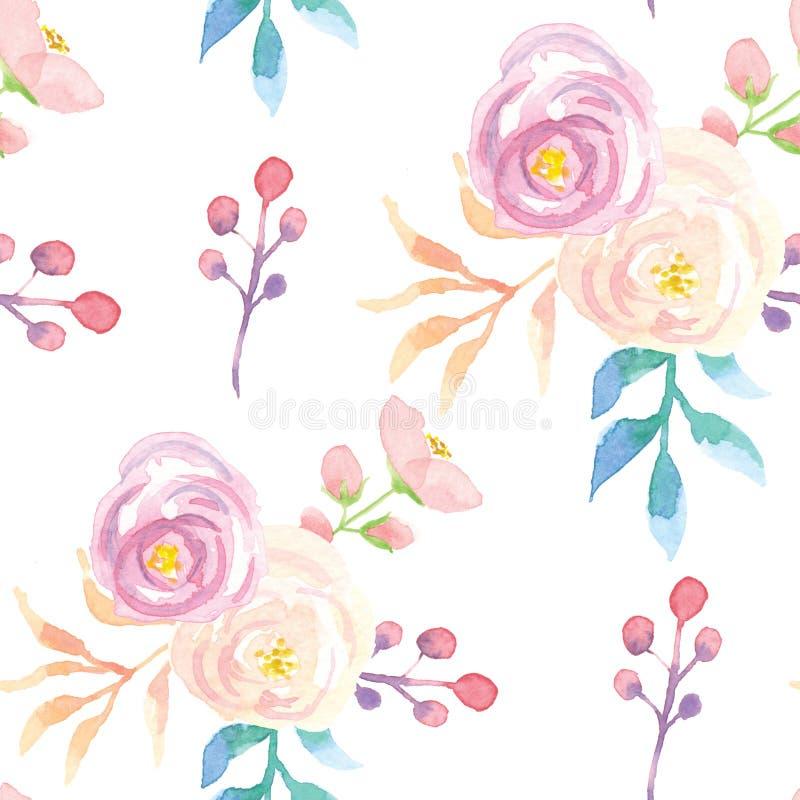 Картина акварели безшовная выходит фиолетовое розовое флористическое лето весны цветков иллюстрация вектора