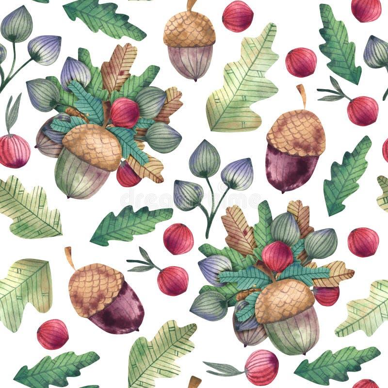 Картина акварели безшовная дуба осени выходит, жолуди и ягоды бесплатная иллюстрация