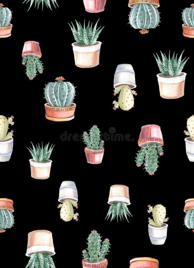 картина акварели безшовная кактусов и succulents акварель стоковое изображение
