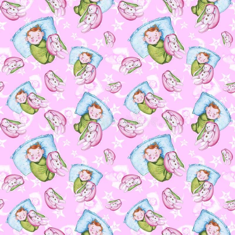 Картина акварели безшовная на теме иллюстрации ` s детей и спокойная ночь с малым ребенком, вокруг желтых звезд иллюстрация штока
