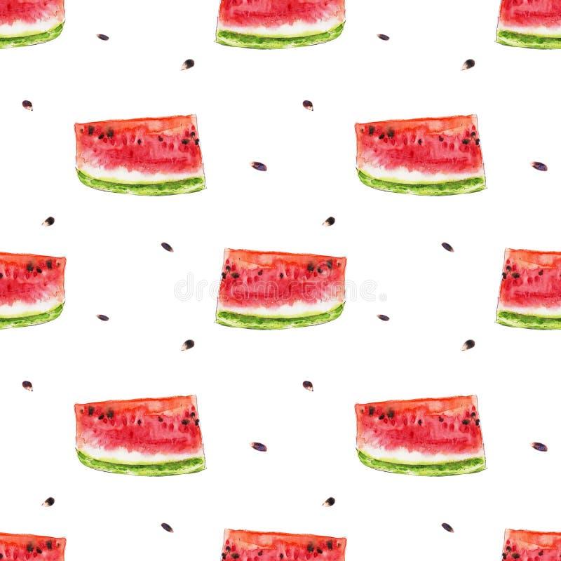 Картина акварели безшовная от красных сочных slicies арбуза иллюстрация штока