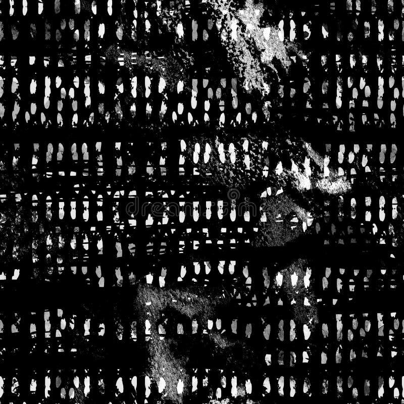Картина акварели безшовная с абстрактными нашивками, точками и brushstrokes иллюстрация штока