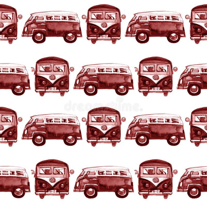 Картина акварели безшовная с автобусом мультфильма Смешное изображение мультфильма Зачатие перемещения Рука покрасила ретро карти иллюстрация штока