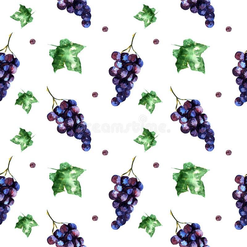 Картина акварели безшовная с виноградиной и листьями иллюстрация штока