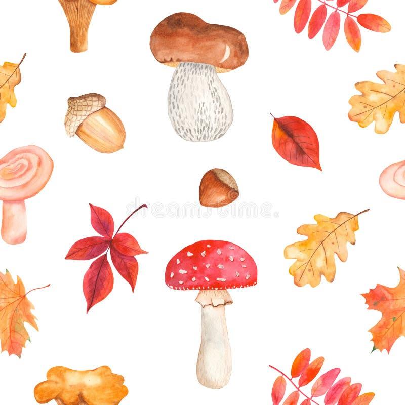 Картина акварели безшовная с грибами, листьями, гайками, жолудями бесплатная иллюстрация
