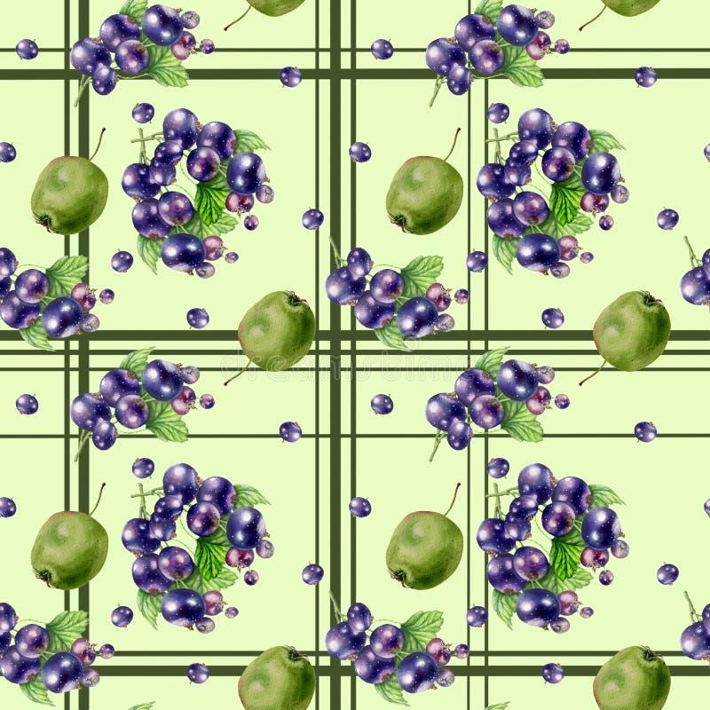 Картина акварели безшовная с изображением зеленых яблок и ягод черной смородины иллюстрация штока