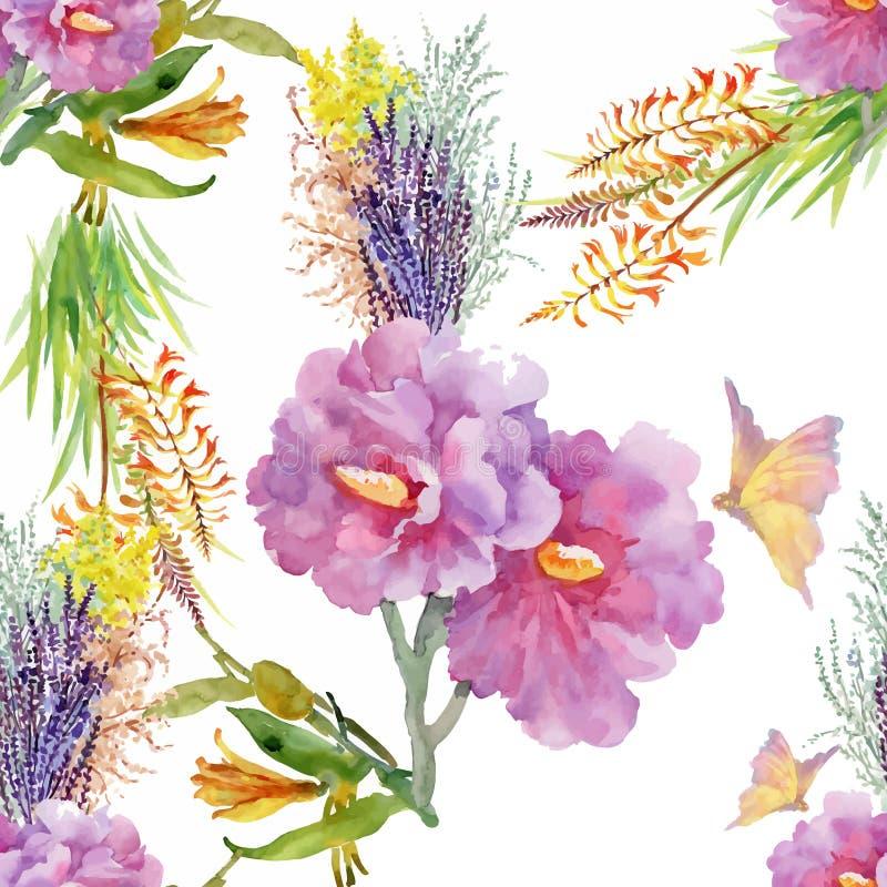 Картина акварели безшовная с красочными цветками и листьями на белой предпосылке, цветочном узоре акварели, цветках внутри иллюстрация вектора