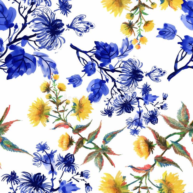Картина акварели безшовная с красочными цветками и листьями на белой предпосылке, цветочном узоре акварели, цветках внутри стоковое изображение rf