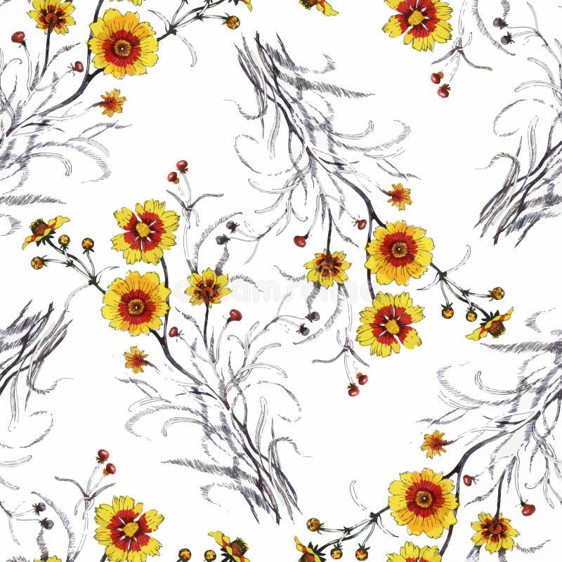 Картина акварели безшовная с красочными цветками и листьями на белой предпосылке, цветочном узоре акварели, цветках внутри стоковые изображения