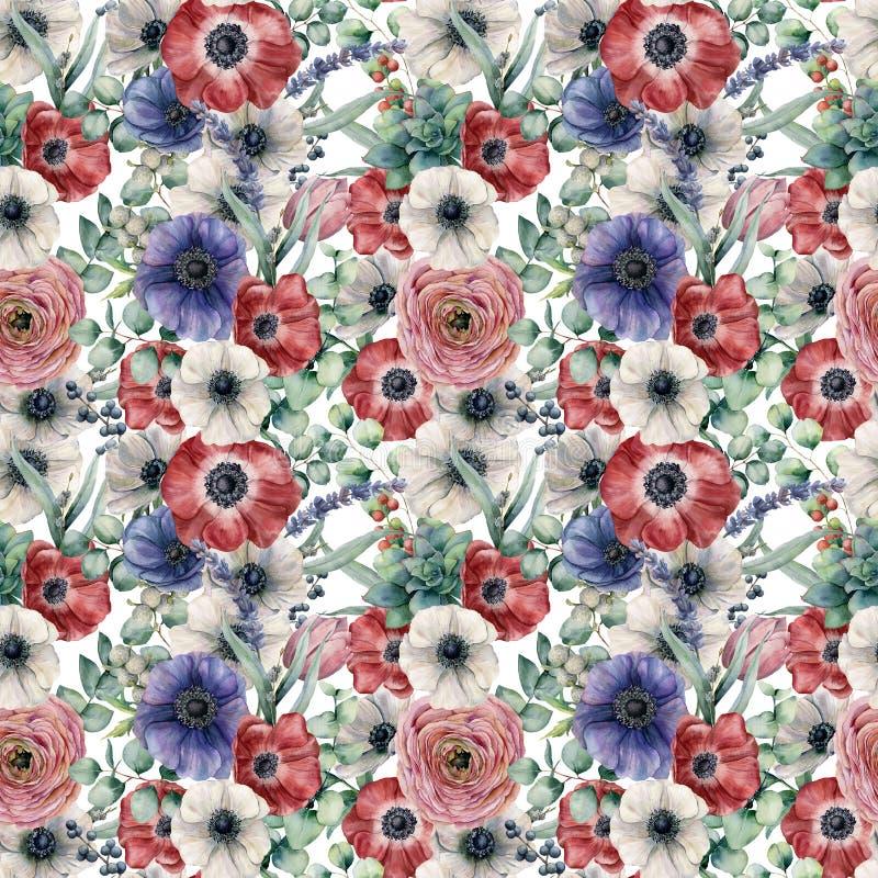 Картина акварели безшовная с листьями и цветками евкалипта Рука покрасила красные, белые и голубые ветреницы, лютик бесплатная иллюстрация