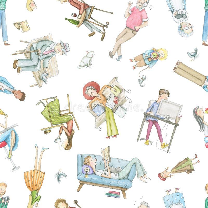 Картина акварели безшовная с людьми мультфильма иллюстрация штока