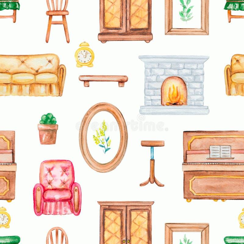 Картина акварели безшовная с мебелью иллюстрация штока