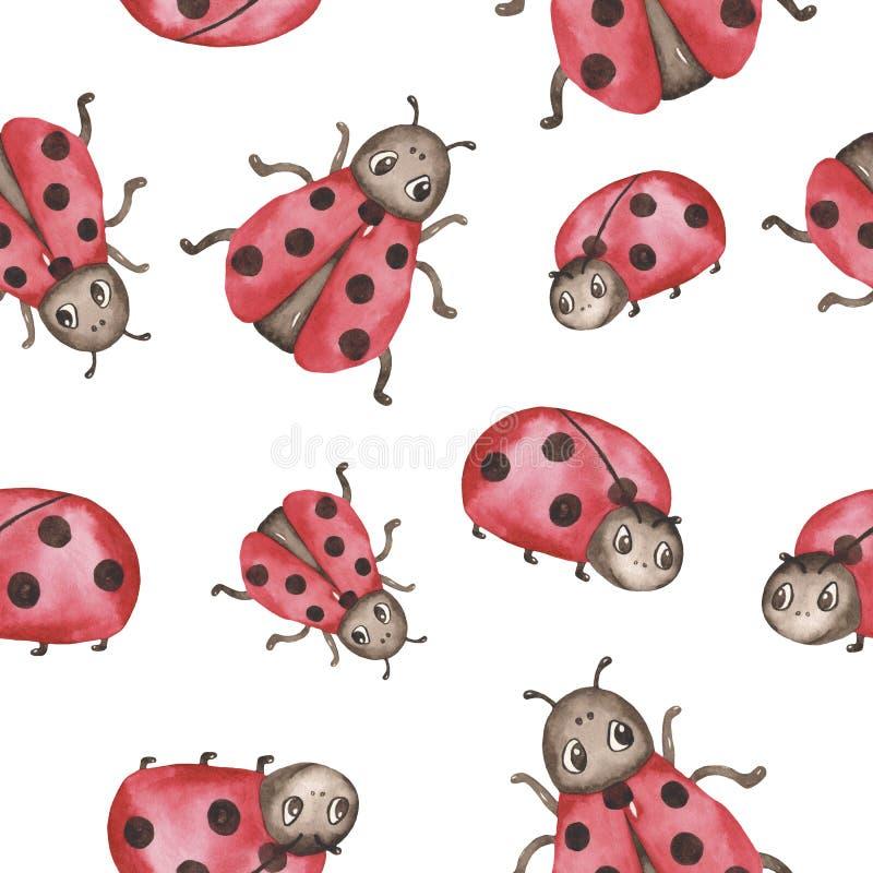 Картина акварели безшовная с милыми Ladybirds мультфильма иллюстрация вектора