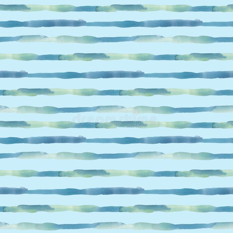 Картина акварели безшовная с нашивками Рука покрасила текстуру конспекта моря или океана горизонтальную изолированная на пастельн иллюстрация штока