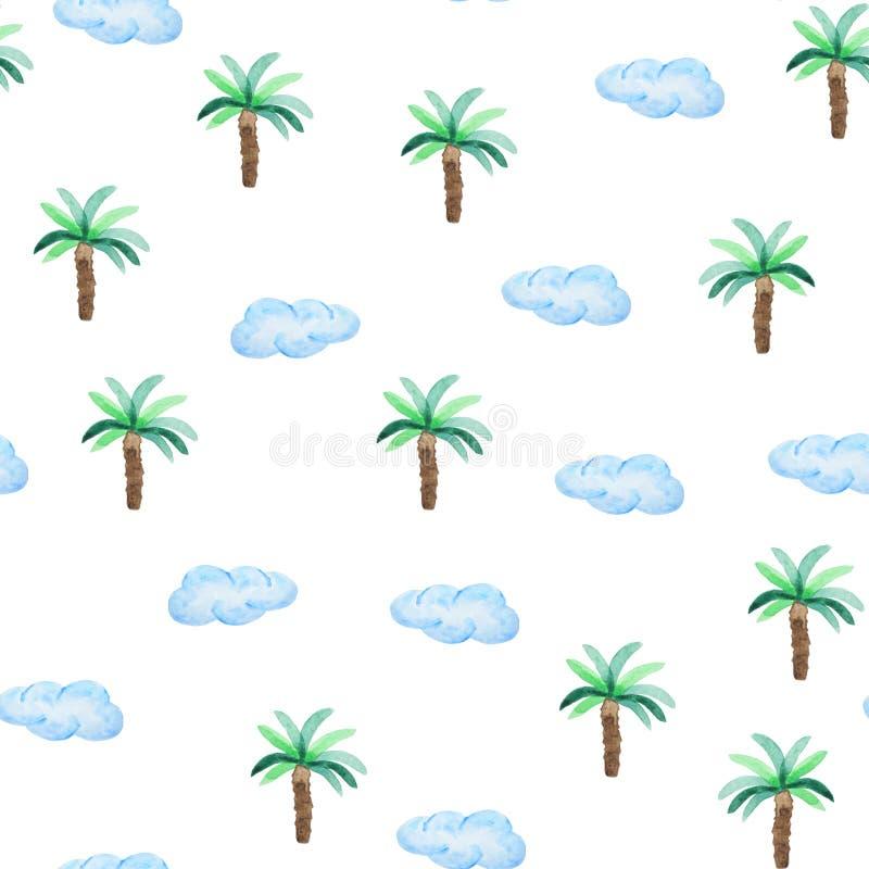 Картина акварели безшовная с пальмами и облаками Картина руки стиля пляжа вычерченная иллюстрация вектора