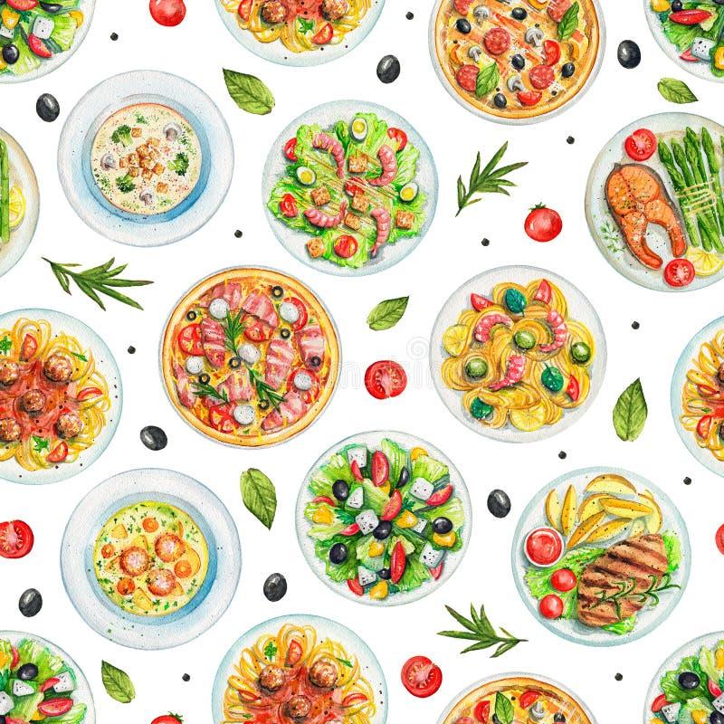 Картина акварели безшовная с плитами с едой и овощами бесплатная иллюстрация