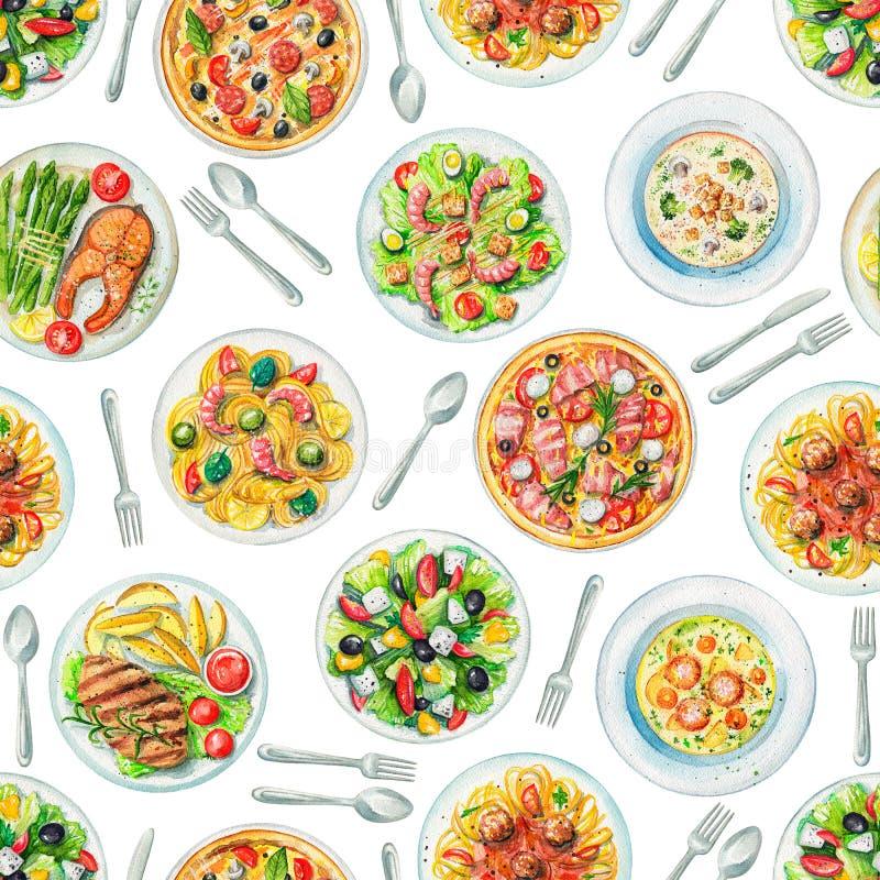 Картина акварели безшовная с плитами с едой и столовым прибором бесплатная иллюстрация