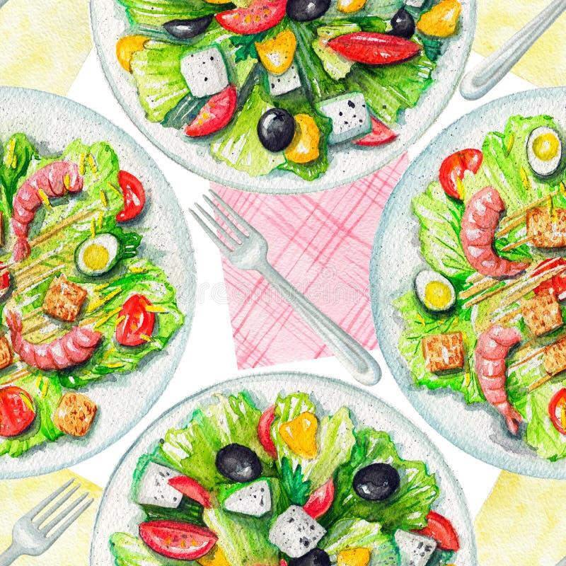 Картина акварели безшовная с салатами, салфетками и tableware бесплатная иллюстрация