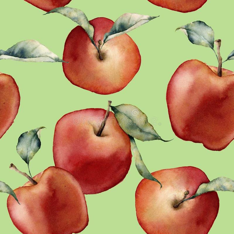 Картина акварели безшовная с яблоками Рука покрасила красные яблока с листьями на зеленой предпосылке средства иллюстрация штока